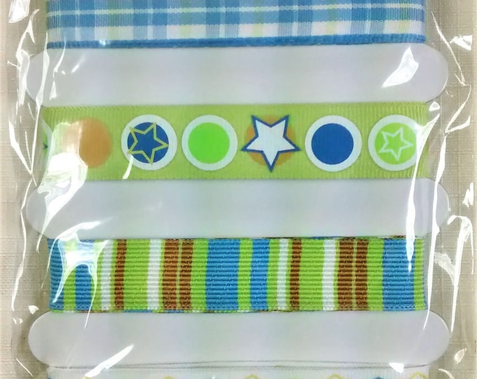 Featured listing image: LR-136 Green and Blue Adhesive Craft Ribbon