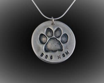 Dog Mom Necklace - Large - Dog Lovers Necklace - Paw Print - Fine Silver - Hand Made Artisan Jewelry by ME Designs