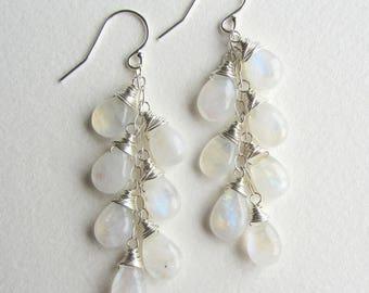 Rainbow Moonstone Earrings - Long Sterling Silver Gemstones - Bridal Jewelry - Wedding Fashion - Long Layer Earrings 7