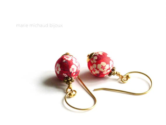 Liberty earrings,Cute earrings, Colorful earrings,Red earrings,Summer earrings, Flower earrings,Liberty jewelry,Summer jewelry,Liberty,