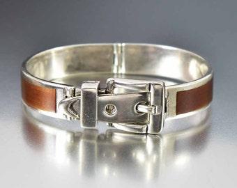 Vintage Enamel Silver Buckle Bracelet, Italian Antonio Fallaci Bracelet, Mid Century Modern Brown Enamel Bracelet, Equestrian Bangle