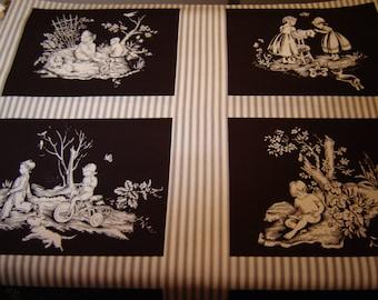 Michael Miller Fabric, OOP, Patt # 2913, Toile Squares, Rare, Panel, 12 different Squares, Vintage Children Images