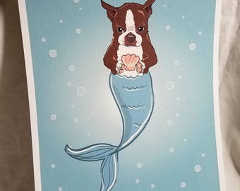 Mermaid Boston Terrier - Brown - Eco-Friendly 8x10 Print