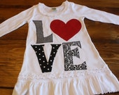 Valentines Day Dress, Valentines Outfit, LOVE Shirt, Valentines Day Tunic, Heart Shirt, Girl Valentine Dress, Reserved Listing