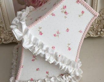SALE***Sweet Shabby Chic Pair of Lampshades - Petite Pink Rosebuds - White Satin Petite Ruffle - Pair of Lampshades