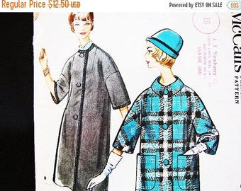 on SALE 25% OFF 1960s Womens Coat Pattern McCalls Pattern Misses size 12 Bust 32  Womens Box Coat Vintage Sewing Pattern