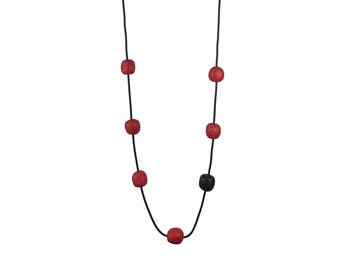 red and black bead necklace, rubber jewelry, light necklace, matte . everyday necklace