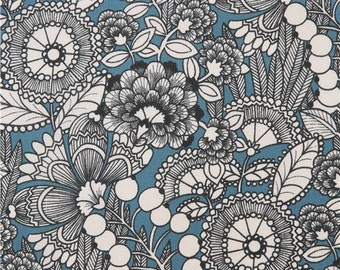 207322 blue Alexander Henry fabric light cream flower