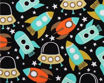 184837 black spaceship space fabric Michael Miller Space Station