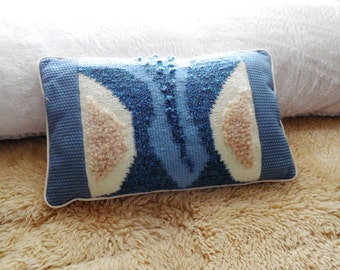 "Pillow...""Cool Blue""...Corded Pillow with Hand Woven Inset..Decorative Pillow...Hand made Designer Pillow...Original Design..Unique Pillow"
