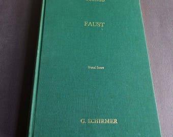 FAUST Gounod Opera Vocal Score Schirmer's Green Score Book 1966, French Opera Music Book, Green Schirmer Opera Score
