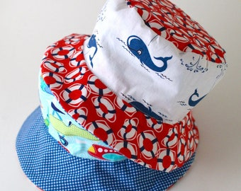 Children's bucket hat, beach wear, cute for spring break with whales and airplanes
