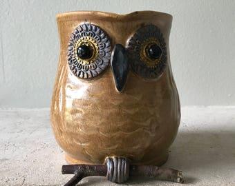 Golden owl  planter or vase