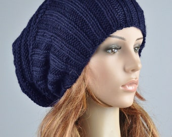 Hand knit hat woman man winter hat Navy blue  Wool Hat slouchy hat- ready to ship