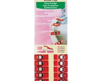 Red Wonder Clips 10 piece Clover fabric sewing craft notions
