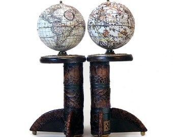 Pair of Miniature Standing Globes