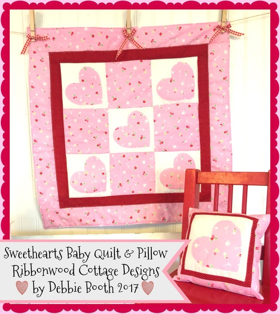 Sweetheart Baby Quilt and Pillow - PDF Sewing Pattern
