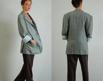 sale 25% rainy days sale Menswear Blazer Vintage Wool Plaid Menswear Preppy Structured Blazer Sportcoat (l xl)