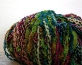 Crystal Palace Aria Yarn . musetta 110 . 134yd . dk merino wool chenille eyelash art yarn . teal forest olive green wine nutmeg tan