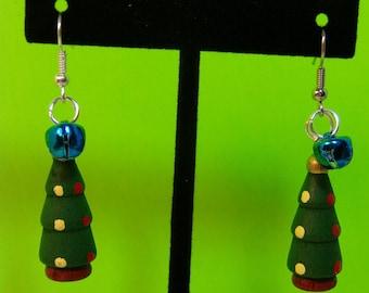 Christmas Tree, Jingle Bell Dangle Earrings