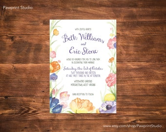 CUSTOM PRINTABLE Invitation: Watercolor Flowers Wedding Invitation (Customizable)
