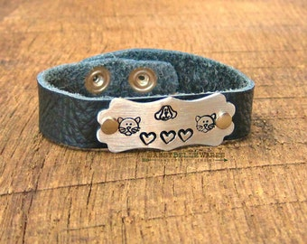 Cats Dogs and Hearts Leather Bracelet pet love animal lover handstamped adjustable brushed aluminum silver puppy kitten kitty textured black
