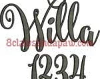 Willa Embroidery Font Includes 6 Sizes