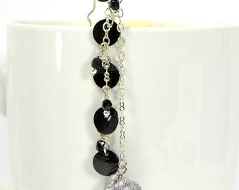 New - Seashell Hair Beads Hair Chain Beaded Hair Clip Beaded Hair Fork Black Silver Geisha Hair Pin Hair Dangle Snap Clip or U Pin
