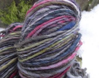 Handspun yarn, Handpainted Single Ply Falkland wool yarn, thick and thin-SOLOKHA