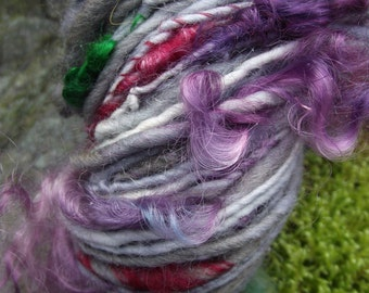 Handspun art  yarn, handpainted  yarn wool uncarded locks of mohair, multiple skeins available-Victoria