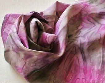 Silk Infinity Scarf - Hand Painted Circle Scarves Pink Gray Grey Silver Berry Wine Lavender Purple