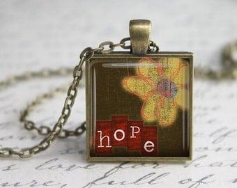 Hope  Pendant,Jewelry, Quote Pendant, Inspirational Pendant, Inspirational Necklace,Word Pendant