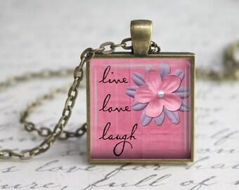 Live Love Laugh Pendant Tray,Love Pendant, Inspirational Pendant,  Art Pendant,Love Necklace, Pink Pendant,Quote pendant.