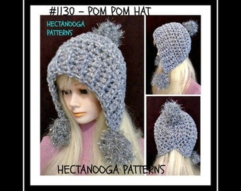 crochet PATTERN hat,-- Stylish Pom Pom Hat,  num  1130, by hectanooga on etsy. age 5 to adult,