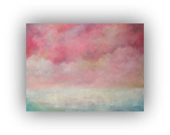 Large Abstract Landscape Oil Painting- 30 x 40 Pink and Blue Sky and Snow Art on Canvas - Original Palette Knife Painting