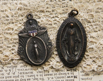 Vintage Immaculate Mary Medals Miraculous Medal- Sterling- Virgin Mary Pendant- Religious Charm- Rosary