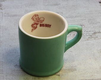 Vintage Green BIG BOY Coffee Mug- Walker China Vitrified 1950's- Bedford Ohio- Restaurant Collectible Cup- Retro Boy with Hamburger- F13