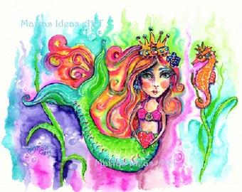Mermaid art, Under the Sea art, Beach art, Mermaid Princess, Mermaid Goddess, nursery wall art, kids room, bathroom wall art