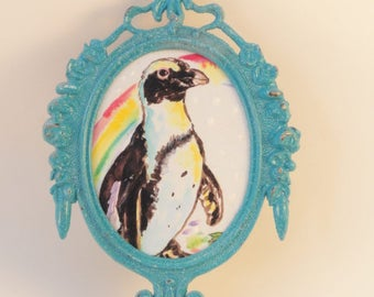 Penguin art, Penguin print,mixed media art, upcycled art, Original art, OOAK original art, Mini Painting,  repurposed  Vintage Frame