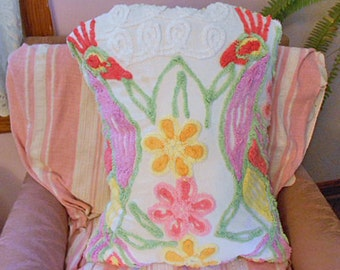 Vibrant PEACOCK CHENILLE PILLOW Red Lavender Green Birds Yellow Pink Roses, 1940 Vintage Tufted Bedspread Soft Cotton, Envelope Back 16 x 21