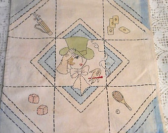 "ART DECO Cosmo LADY Pillow Cover Embroidered & Painted Sporting Fun Golf Cards Tennis Dice, Sturdy 1920's Antique Cotton Flapper Era 16"" sq"