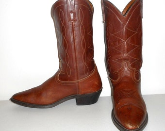 Mens 9.5 D Cowboy Boots Acme Brown Western Rockabilly Shoes Vintage Womens 11