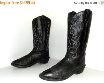 ON SALE Rockin' Black  Leather cowboy boots size 9 D or cowgirl size 10.5