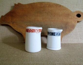 Vintage White Ironstone Creamers Restaurantware Lamberton China Set of Two Personal Creamers