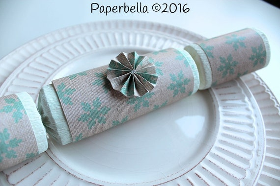 Fill Your Own Party Crackers Christmas Burlap Snowflake Party Popper, Personalize with Your Monogram and a Paper Rosette or Star Sequin