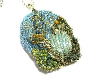 Seed Bead Pendant Necklace Wearable Art Jewelry Goddess Jewelry Top Selling Jewelry Seed Bead Jewelry