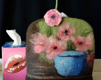 Tissue Box Cover Felted box cover, tissue box handmade felted cover, Still Life, Flowers, Kleenex Cover, gift idea Tissue box holder