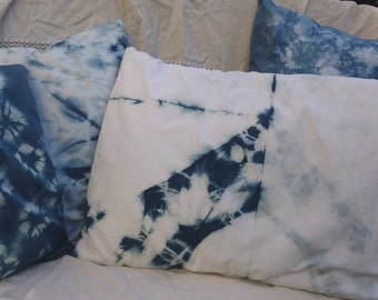 "Shibori Indigo Pillow Cover Hand Dyed Cotton Blue White Pillow Unusual Design Large Natural Plant Dye Shibori Indigo Pillow Cover 19"" x 27"""