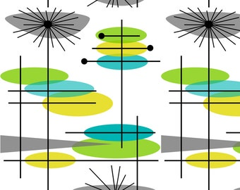 Mid-Century Modern Fabric - Mid-Century Modern Abstract 3 By Hot4tees Bg@Yahoo Com - Retro Mod Modern Fabric With Spoonflower