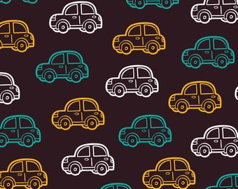 Brown Cars Fabric - Doodle Car Pattern By Boyusya - Boys Childrens Cars Blue Brown Yellow Cotton Fabric By The Yard With Spoonflower